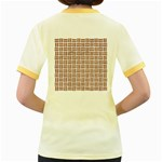 WOVEN1 WHITE MARBLE & RUSTED METAL (R) Women s Fitted Ringer T-Shirts Back