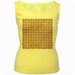 WOVEN1 WHITE MARBLE & RUSTED METAL (R) Women s Yellow Tank Top Front