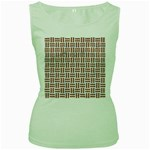 WOVEN1 WHITE MARBLE & RUSTED METAL (R) Women s Green Tank Top Front
