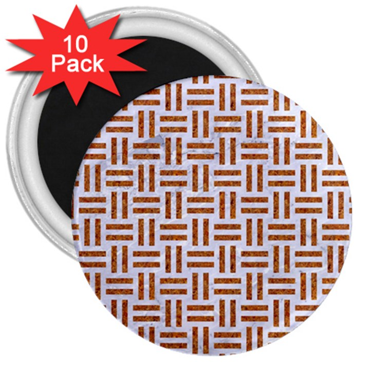 WOVEN1 WHITE MARBLE & RUSTED METAL (R) 3  Magnets (10 pack)