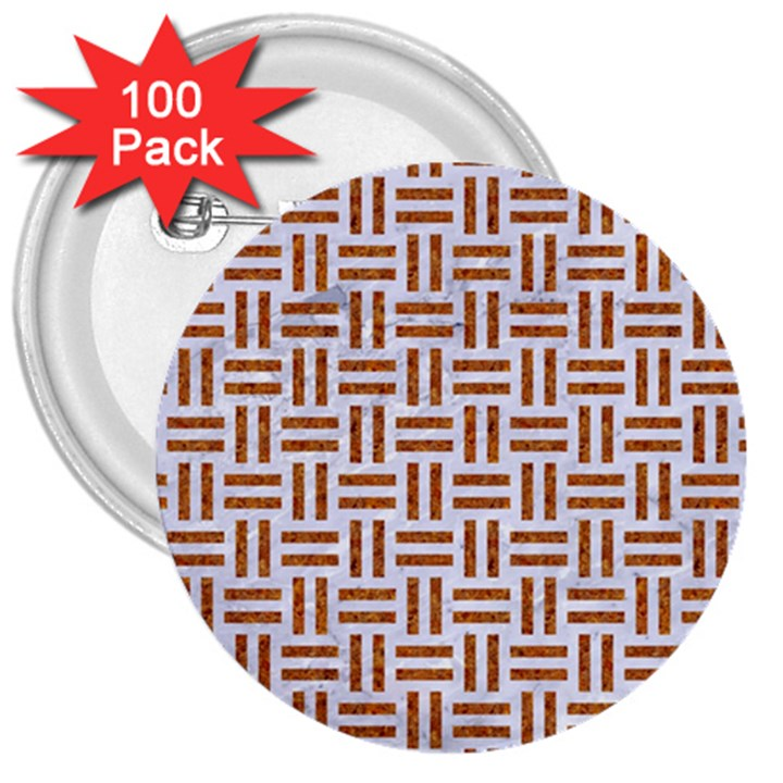 WOVEN1 WHITE MARBLE & RUSTED METAL (R) 3  Buttons (100 pack)