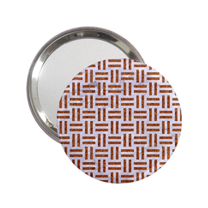 WOVEN1 WHITE MARBLE & RUSTED METAL (R) 2.25  Handbag Mirrors