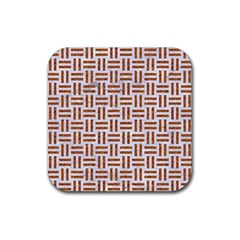 Woven1 White Marble & Rusted Metal (r) Rubber Coaster (square)