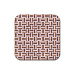 WOVEN1 WHITE MARBLE & RUSTED METAL (R) Rubber Coaster (Square)  Front