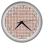 WOVEN1 WHITE MARBLE & RUSTED METAL (R) Wall Clocks (Silver)  Front