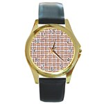 WOVEN1 WHITE MARBLE & RUSTED METAL (R) Round Gold Metal Watch Front