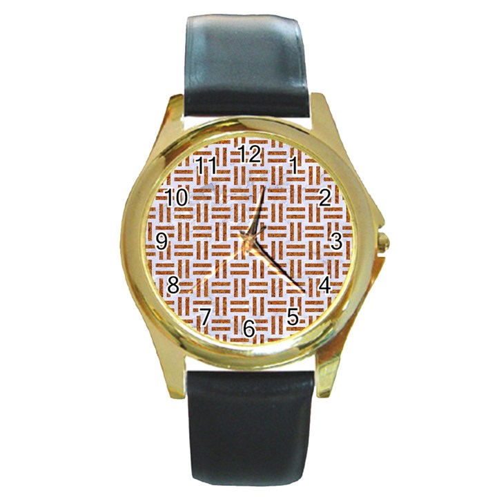 WOVEN1 WHITE MARBLE & RUSTED METAL (R) Round Gold Metal Watch