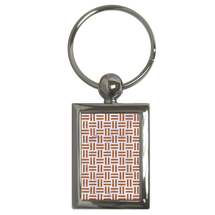 WOVEN1 WHITE MARBLE & RUSTED METAL (R) Key Chains (Rectangle)