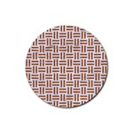 WOVEN1 WHITE MARBLE & RUSTED METAL (R) Rubber Round Coaster (4 pack)  Front