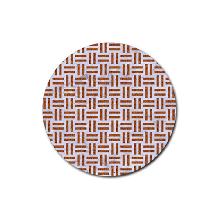 WOVEN1 WHITE MARBLE & RUSTED METAL (R) Rubber Round Coaster (4 pack)