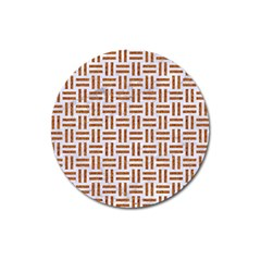 Woven1 White Marble & Rusted Metal (r) Magnet 3  (round)