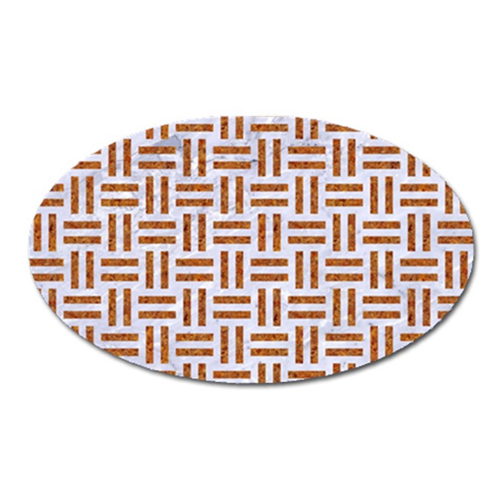 WOVEN1 WHITE MARBLE & RUSTED METAL (R) Oval Magnet