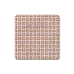 Woven1 White Marble & Rusted Metal (r) Square Magnet