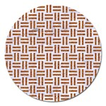 WOVEN1 WHITE MARBLE & RUSTED METAL (R) Magnet 5  (Round) Front
