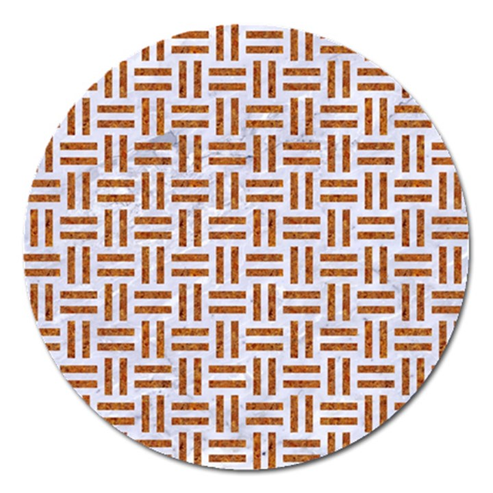 WOVEN1 WHITE MARBLE & RUSTED METAL (R) Magnet 5  (Round)