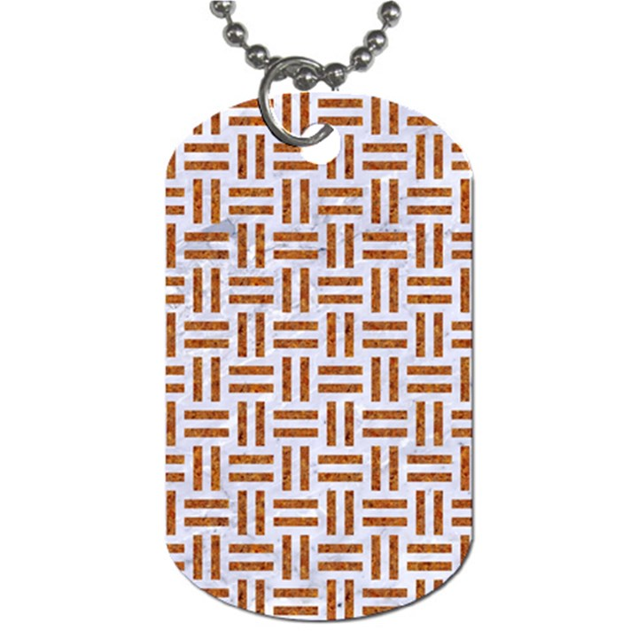 WOVEN1 WHITE MARBLE & RUSTED METAL (R) Dog Tag (One Side)