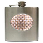 WOVEN1 WHITE MARBLE & RUSTED METAL (R) Hip Flask (6 oz) Front