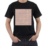 WOVEN1 WHITE MARBLE & RUSTED METAL (R) Men s T-Shirt (Black) (Two Sided) Front