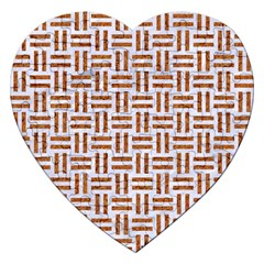 Woven1 White Marble & Rusted Metal (r) Jigsaw Puzzle (heart)
