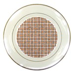 WOVEN1 WHITE MARBLE & RUSTED METAL (R) Porcelain Plates Front