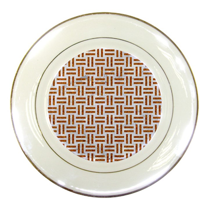 WOVEN1 WHITE MARBLE & RUSTED METAL (R) Porcelain Plates