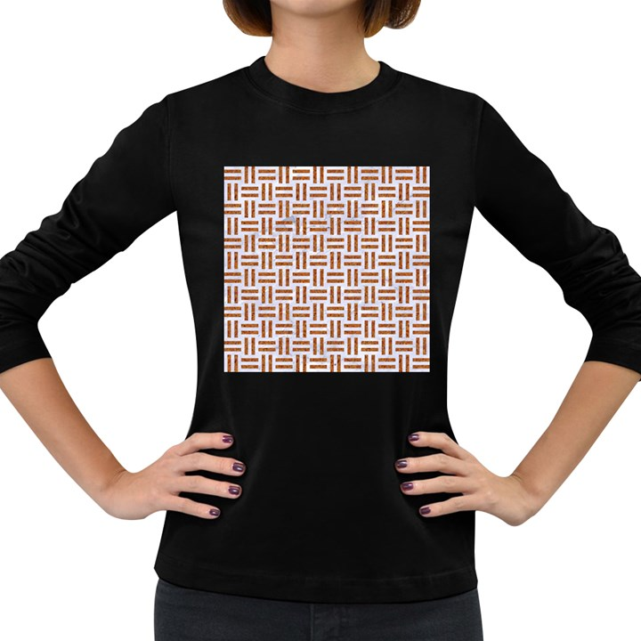 WOVEN1 WHITE MARBLE & RUSTED METAL (R) Women s Long Sleeve Dark T-Shirts
