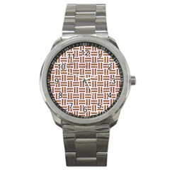 Woven1 White Marble & Rusted Metal (r) Sport Metal Watch