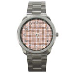 WOVEN1 WHITE MARBLE & RUSTED METAL (R) Sport Metal Watch Front