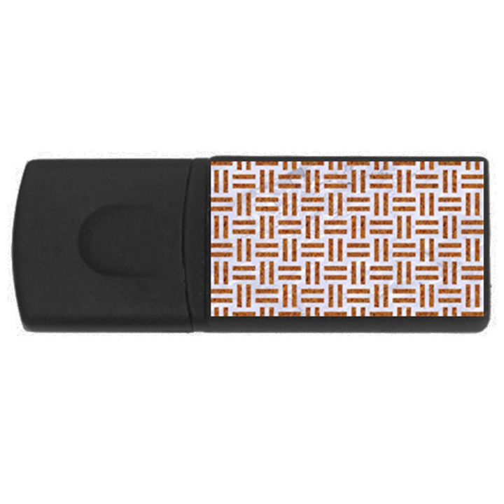 WOVEN1 WHITE MARBLE & RUSTED METAL (R) Rectangular USB Flash Drive