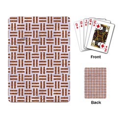 Woven1 White Marble & Rusted Metal (r) Playing Card