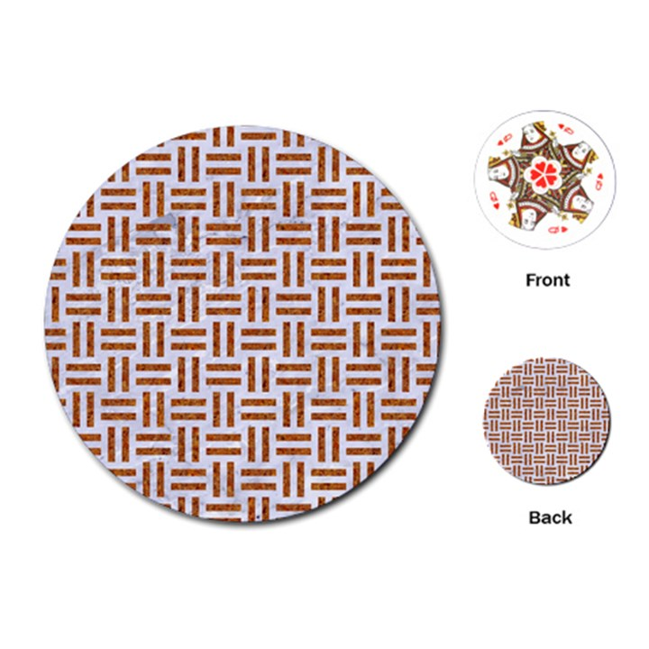 WOVEN1 WHITE MARBLE & RUSTED METAL (R) Playing Cards (Round)