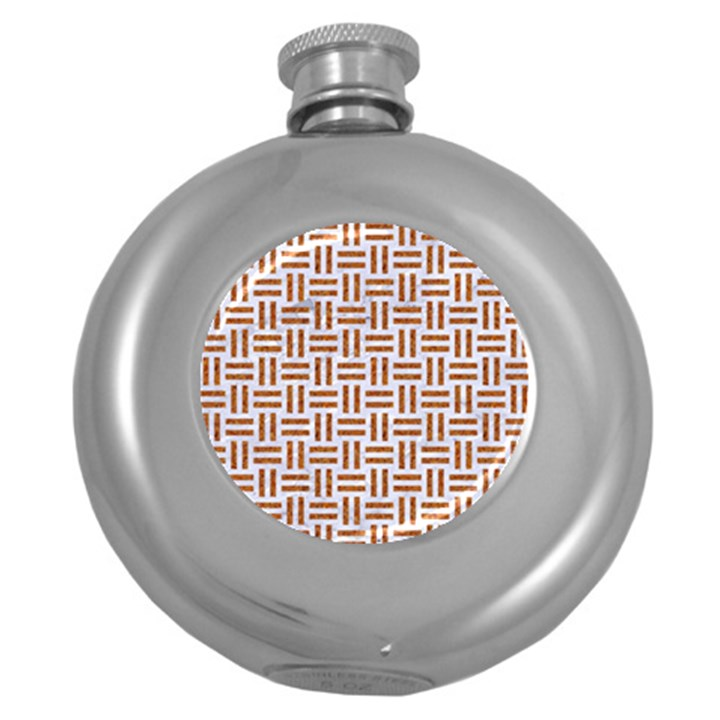WOVEN1 WHITE MARBLE & RUSTED METAL (R) Round Hip Flask (5 oz)