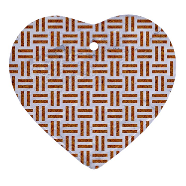 WOVEN1 WHITE MARBLE & RUSTED METAL (R) Heart Ornament (Two Sides)