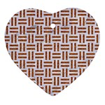 WOVEN1 WHITE MARBLE & RUSTED METAL (R) Heart Ornament (Two Sides) Back