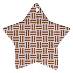 Woven1 White Marble & Rusted Metal (r) Star Ornament (two Sides)