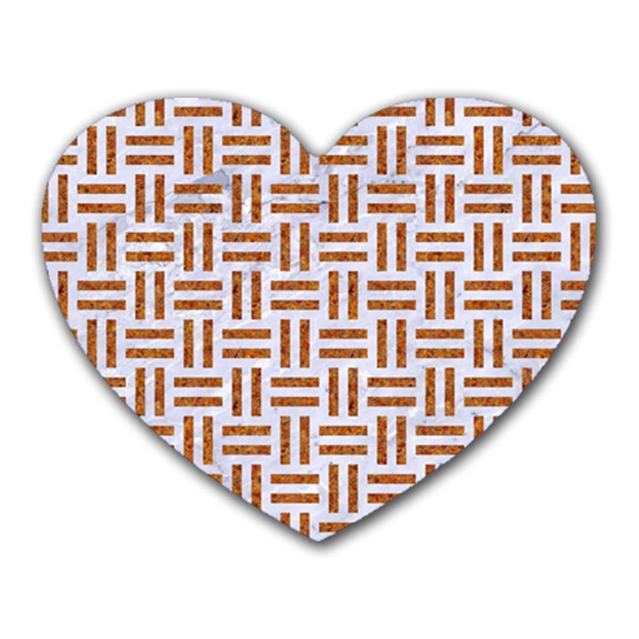 WOVEN1 WHITE MARBLE & RUSTED METAL (R) Heart Mousepads
