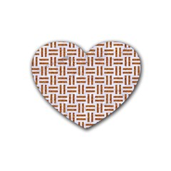 Woven1 White Marble & Rusted Metal (r) Rubber Coaster (heart)