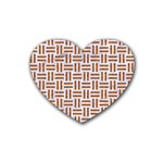 WOVEN1 WHITE MARBLE & RUSTED METAL (R) Rubber Coaster (Heart)  Front