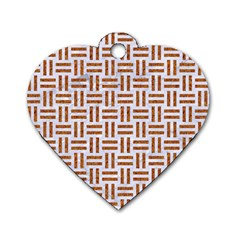 Woven1 White Marble & Rusted Metal (r) Dog Tag Heart (one Side)
