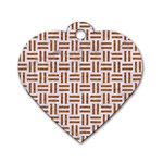 WOVEN1 WHITE MARBLE & RUSTED METAL (R) Dog Tag Heart (Two Sides) Front
