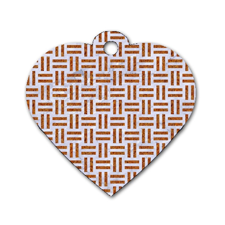WOVEN1 WHITE MARBLE & RUSTED METAL (R) Dog Tag Heart (Two Sides)