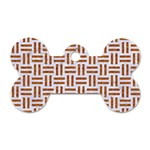 WOVEN1 WHITE MARBLE & RUSTED METAL (R) Dog Tag Bone (Two Sides) Front