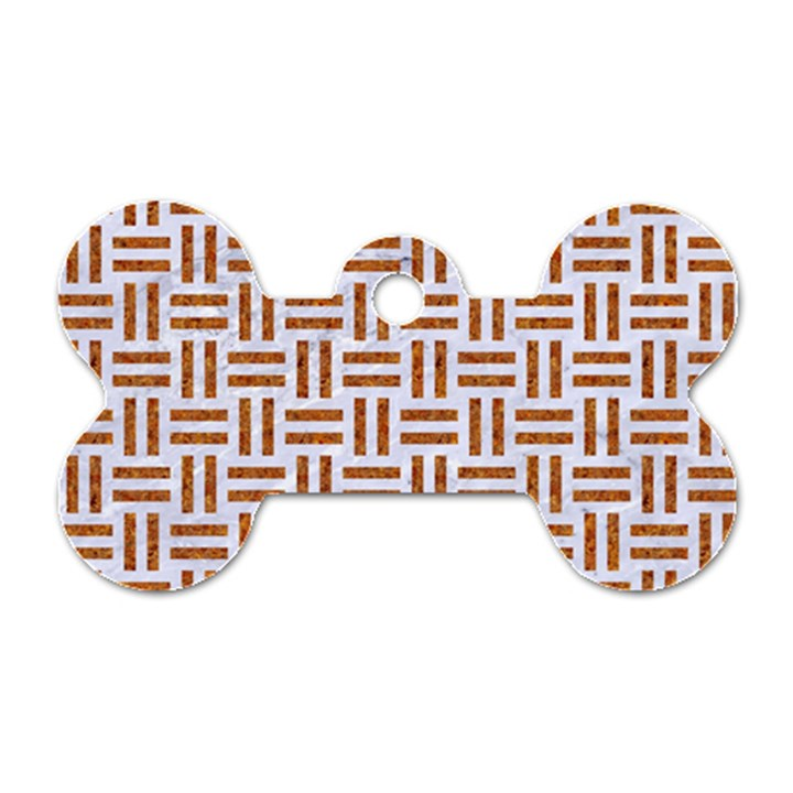 WOVEN1 WHITE MARBLE & RUSTED METAL (R) Dog Tag Bone (Two Sides)