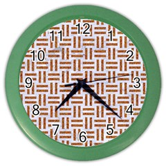 Woven1 White Marble & Rusted Metal (r) Color Wall Clocks