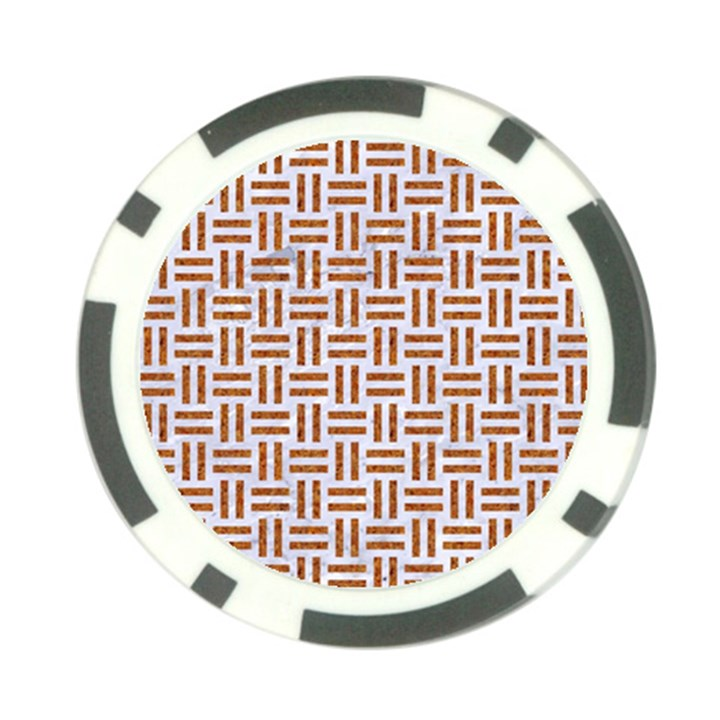 WOVEN1 WHITE MARBLE & RUSTED METAL (R) Poker Chip Card Guard