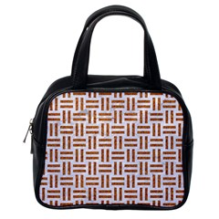 Woven1 White Marble & Rusted Metal (r) Classic Handbags (one Side)