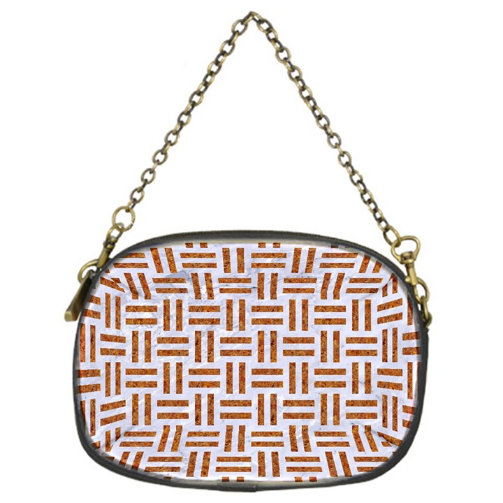 WOVEN1 WHITE MARBLE & RUSTED METAL (R) Chain Purses (One Side)