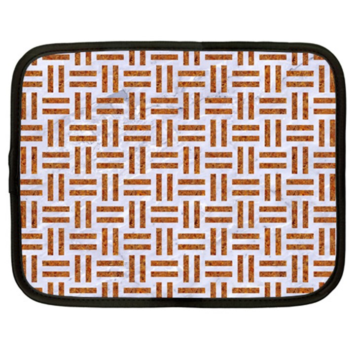 WOVEN1 WHITE MARBLE & RUSTED METAL (R) Netbook Case (XL)