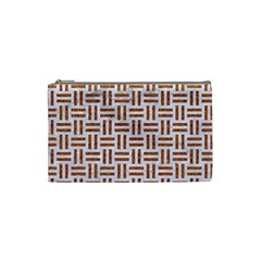 Woven1 White Marble & Rusted Metal (r) Cosmetic Bag (small)