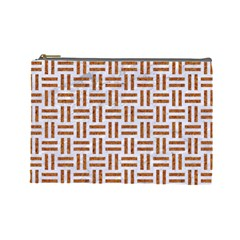 Woven1 White Marble & Rusted Metal (r) Cosmetic Bag (large)